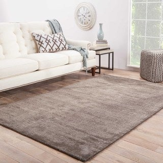 Handmade Solid Pattern Gray Wool/ Art Silk Rug (3'6 x 5'6)