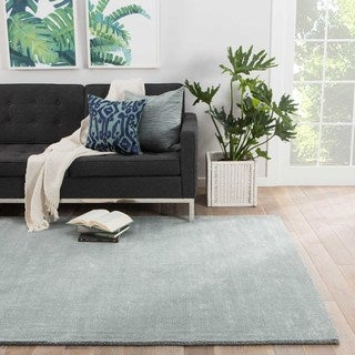 Minke Handmade Solid Light Blue Area Rug (8' X 10')