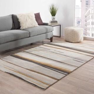 Handmade abstract Pattern Gray/ Brown Wool/ Art Silk Rug (9'6 x 13'6)