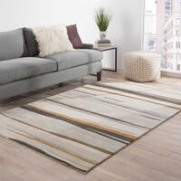"Pinnacle Handmade Abstract Gray/ Gold Area Rug - 9'6"" X 13'6"""