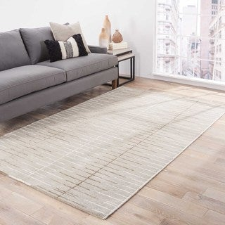 Loran Handmade Stripe Gray/ White Area Rug (8' X 10')