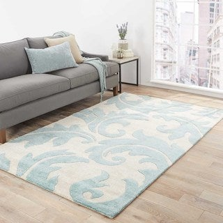 Hand-Made Abstract Pattern Ivory/ Blue Wool/ Art Silk Rug (8x10)