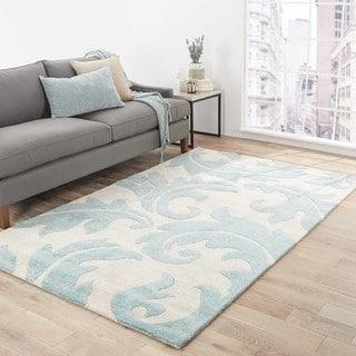 Damasse Handmade Damask Gray/ Blue Area Rug (8' X 10')