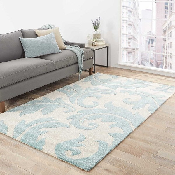 "Damasse Handmade Damask Gray/ Blue Area Rug (9' X 12') - 8'10"" x 11'9"""