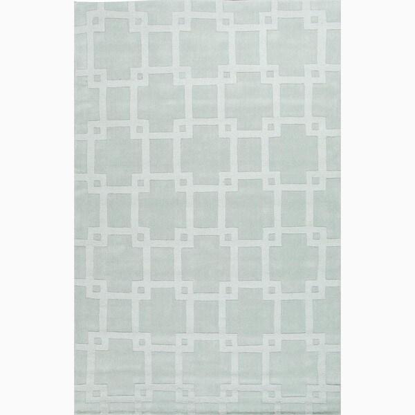 Handmade Blue Wool Te x tured Rug (8 x 11)