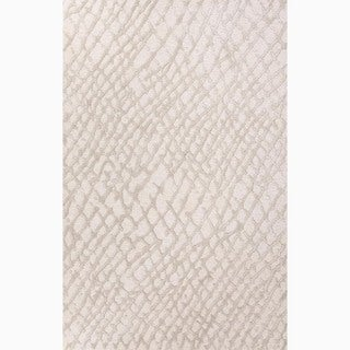Handmade Ivory/ Gray Wool/ Art Silk Te x tured Rug (2 x 3)