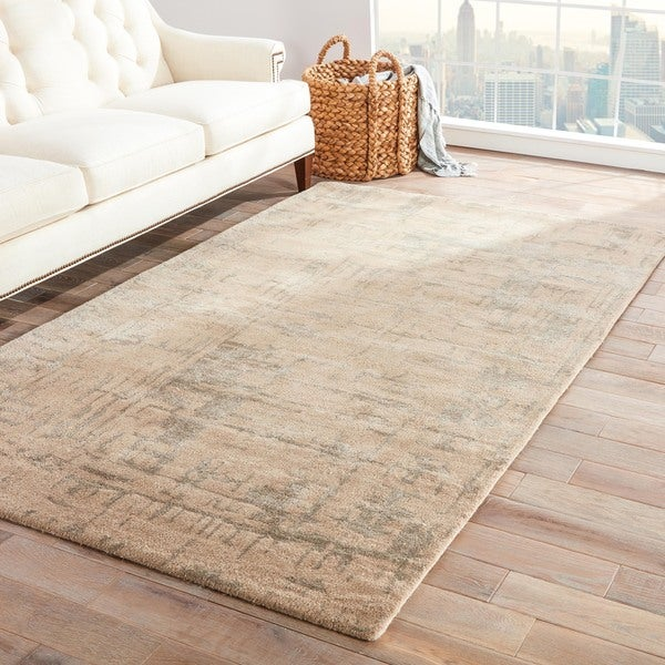 Raynor Handmade Abstract Beige/ Silver Area Rug (8' X 10')