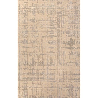 Handmade Taupe/ Gray Wool/ Art Silk Te x tured Rug (9 x 12)
