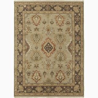 Handmade Oriental Pattern Gray/ Brown Wool Rug (6 x 9)