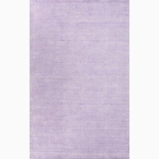 Hand-Made Solid Pattern Purple Wool/ Art Silk Rug (8x10)