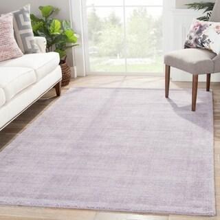 Handmade Solid Pattern Purple Wool/ Art Silk Rug (9 x 13)