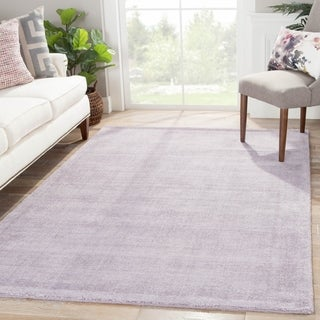 Handmade Solid Pattern Purple Wool/ Art Silk Rug (5 x 8)