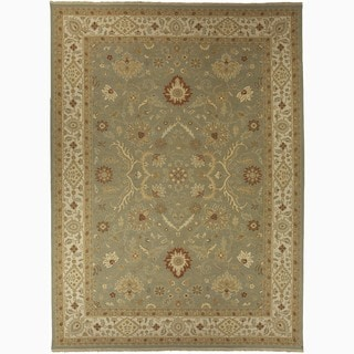 Hand-Made Oriental Pattern Green/ Ivory Wool Rug (8x10)