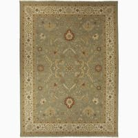 Hand-Knotted Floral Green Area Rug - 8' x 10'