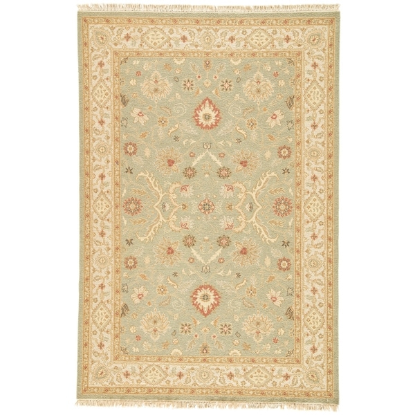 Hand-Knotted Floral Green Area Rug (2' X 3') - 2' x 3'
