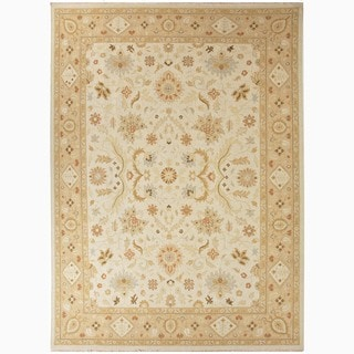 Hand-Knotted Floral White Area Rug (9' X 12')