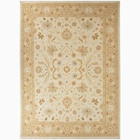 Hand-Knotted Floral White Area Rug (9' X 12') - 9' x 12'