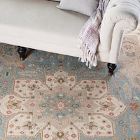 Hand-Knotted Floral Blue Area Rug - 8' x 10'