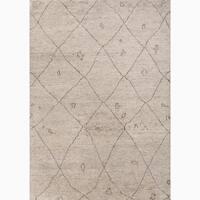 Amasya Hand-Knotted Geometric Cream/ Brown Area Rug (8' X 10')