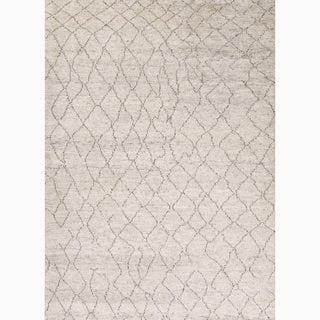 "Antalya Hand-Knotted Geometric Cream/ Brown Area Rug (9' X 12') - 8'10"" x 11'9"""