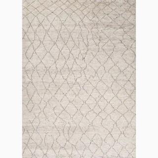 Antalya Hand-Knotted Geometric Cream/ Brown Area Rug (9' X 12')