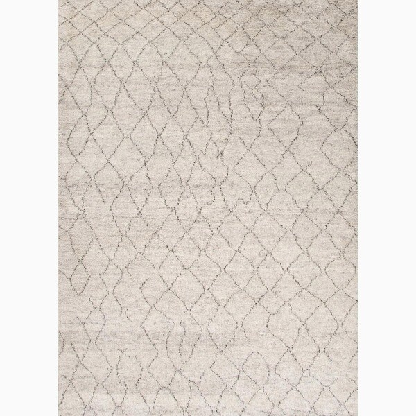 Antalya Hand-Knotted Geometric Cream/ Brown Area Rug (5' X 8')