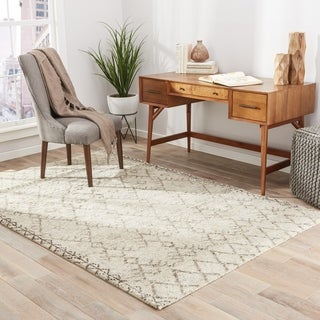 Hand-Made Ivory/ Gray Wool Textured Rug (2X3)