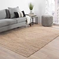 Solis Natural Solid Tan/ Black Area Rug (5' x 8') - 5' x 8'