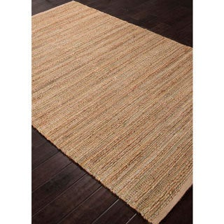 Handmade Solid Pattern Green/ Taupe Cotton/ Jute Rug (2'6 x 4)