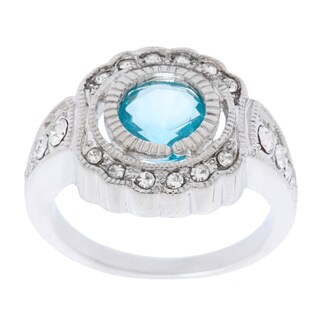 Simon Frank Antique Bezel Set Synthetic Aqua with Crystal Accents Ring