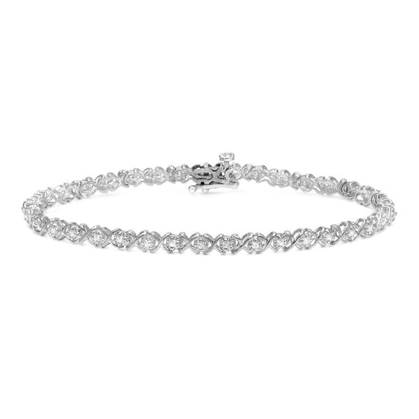 Auriya 14k White Gold 1 1 3ct TDW X Design Diamond Bracelet Free
