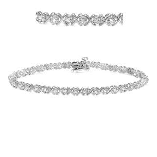Auriya 14k White Gold 1 1/3ct TDW X Design Diamond Bracelet
