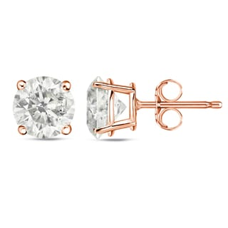 Auriya 14k Rose Gold 1 to 2ct TDW Certified Round Diamond Stud Earrings (J-K, I1-I2)