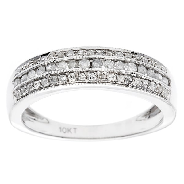 10k White Gold 1/2ct Pave Diamond Band