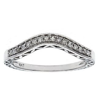 10k White Gold 1/6ct Curved Vintage Style Diamond Band (G-H, I1-I2)