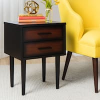 Palm Canyon Preston 2-drawer Cherry/ Black Mid-century Style Nightstand
