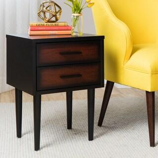 Carson Carrington Preston 2-drawer Cherry/ Black Mid-century Style Nightstand