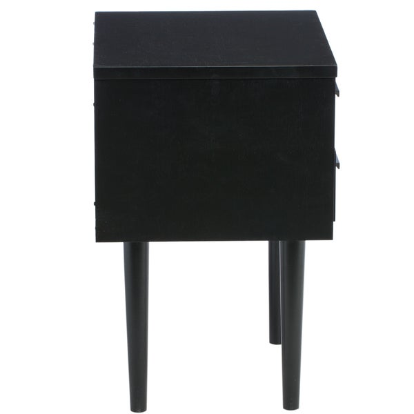 preston 2drawer cherry black midcentury style nightstand free shipping today