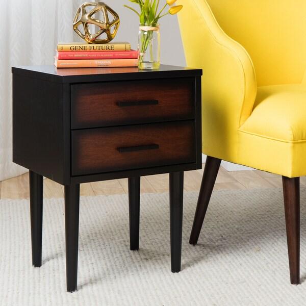 Preston 2-drawer Cherry/ Black Mid-century Style Nightstand