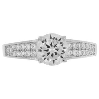 NEXTE Jewelry Sterling Silver Round-cut Cubic Zirconia Bridal Style Ring