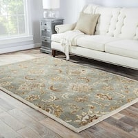"Coventry Handmade Floral Blue/ Tan Area Rug (2'6"" X 4') - 2'6"" x 4'"