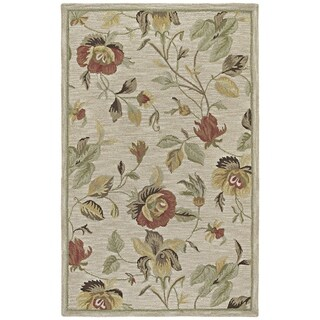 Hand-tufted Lawrence Oatmeal Floral Wool Rug (2'0 x 3'0) - 2' x 3'