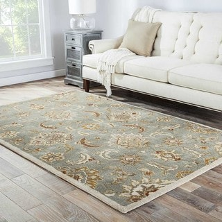 Coventry Handmade Floral Blue/ Tan Area Rug (4' X 8')