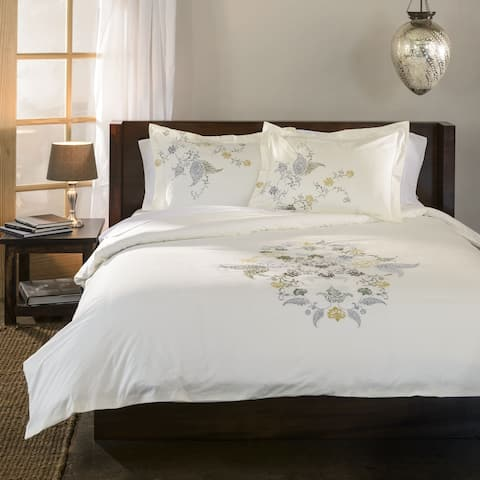 Miranda Haus Hyacinth Floral Embroidered Cotton 3-piece Duvet Cover Set