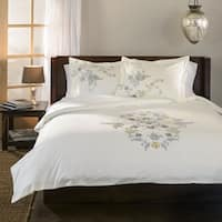 Superior Hyacinth Floral Embroidered Cotton 3-piece Duvet Cover Set