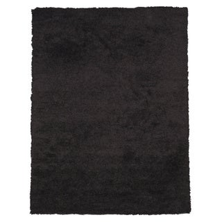 Handwoven Wool & Viscose Black Contemporary Solid Shaggy Rug (7'9 x 9'9)