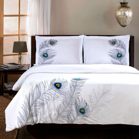 Miranda Haus Peacock 3-piece Embroidered Cotton Duvet Cover Set
