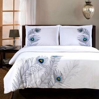 Miranda Haus Peacock 3-piece Embroidered Cotton Duvet Cover Set