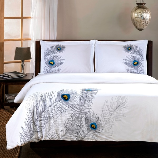 Superior Peacock 3 Piece Embroidered Cotton Duvet Cover Set