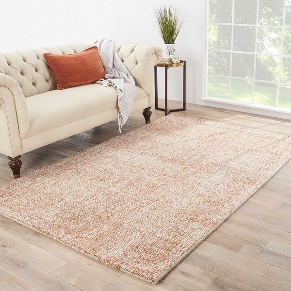 Richmond Handmade Abstract Orange/ Light Gray Area Rug (5' X 8') - 5' x 8'